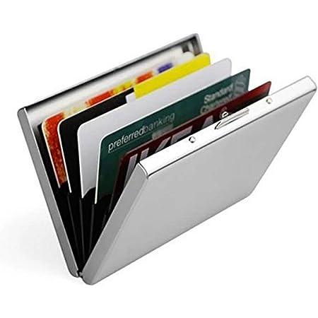 Doutop Credit Card Holder Card Wallet RFID Blocking Brushed Stainless Steel Bank ID Card Holder Case Box Pocket Purse for Men Women