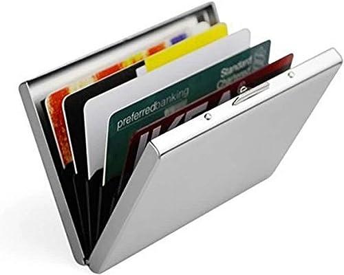 Doutop Credit Card Holder Card Wallet RFID Blocking Brushed Stainless Steel Bank ID Card Holder Case Box Pocket Purse...