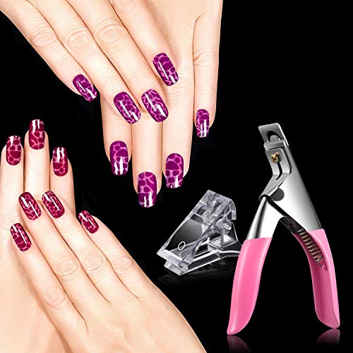 10 Stück Polygel Nagel Klammer,Nagelspitzen Clip,Schnelles Bauen Nagelverlängerung Clips mit 1 Stück Nagel Knipser Kunststoff Builder Klemmen für Nagelverlängerung