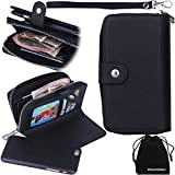 iPhone 6s / iPhone 6 Case, DRUnKQUEEn Detachable Case Purse Black Premium Wallet PU Leather Zipper Removable Case with Flip Cover for iPhone6 iPhone6s (12cm )