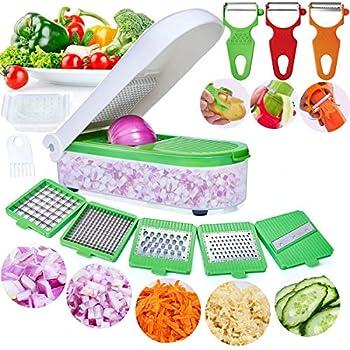 LHS Vegetable Chopper Pro Onion Chopper Slicer Dicer Cutter Shredded- Cheese & Veggie Chopper Plus Peeler and Julienne - Food Chopper Dicer with 8 Blades  Green
