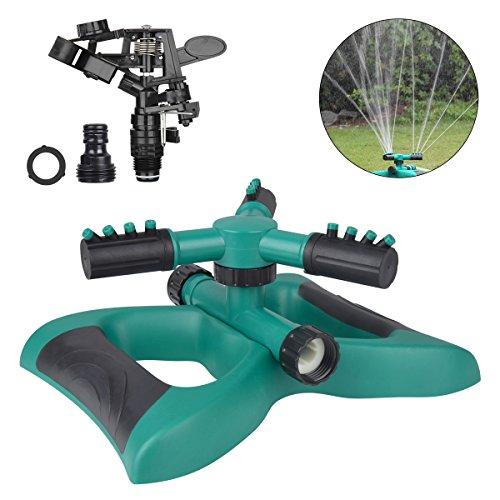 TZCER Sprinkler 360° Automatic Rotating Sprinkler 3 Arm Sprayer Water Sprinklers for Garden Lawns Impact Sprinkler