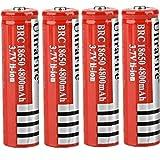 18650 Batería Recargable de Iones de Litio de 3,7 V 4800 mAh Baterías de botón de Gran Capacidad para Linterna LED, iluminación de Emergencia, Dispositivos electrónicos, etc. 4 Piezas (Rojo)