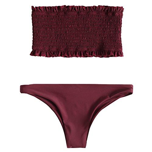 ZAFUL Damen Sexy Gerafftes Rüschen Bandeau Bikini Set Einfarbiger Badeanzug Bademode Weinrot M