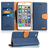 Funda iPhone 6 / 6S, [Ranuras para Tarjetas][Cierre Magnético] [Soporte Plegable] TPU Parachoques Cover,Protección De Cuerpo Completo Carcasa Case Para Apple iPhone 6S / 6 (Blue)