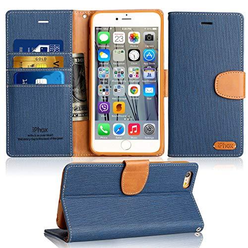 Handy iPhone 6S/6 Lederhülle, IPHOX Schutzhülle Ultra Slim, Kartenfächern, Kabelloses Laden, Magnetverschluss,Handyhülle Tasche Leder Flip Case Brieftasche Etui für Apple iPhone 6 / 6S(Blue)