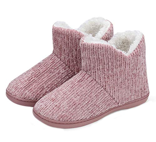TUOBUQU Womens Warm Bootie Slippers Fluffy Plush Indoor Outdoor Winter Comfy House Slippers Pink L