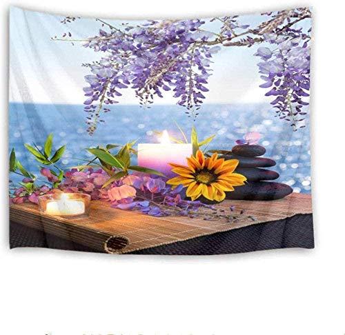 Tapiz Art Paño para colgar en la pared Impresión HD Cocina Dormitorio Sala de estar Decoración,Zen Spa Girasoles violetas y vela sobre bambú Ocean Tapices Dormitorio Decoración 100cm x 150 cm