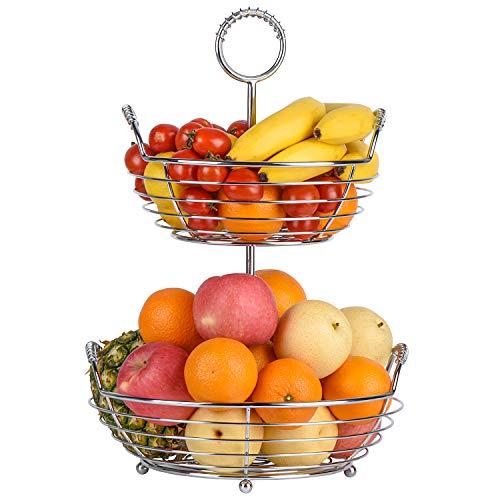 Sunny Living 2 tier fruit basket bowl, fruit holder for kitchen counter stand, hanging fruit baskets,fruit,vegetable,bread and produce storage (chrome)
