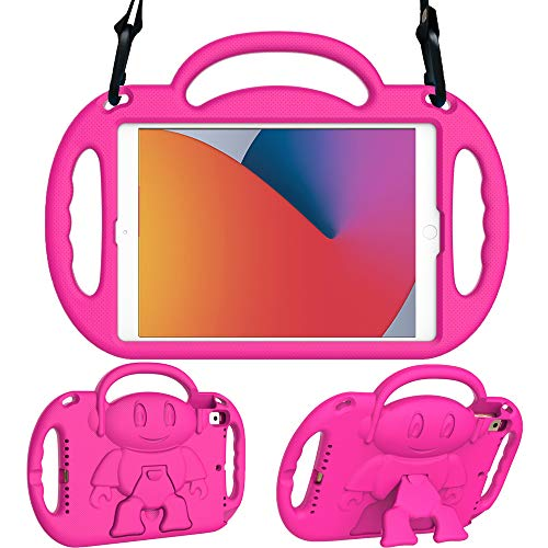Surom Kids Case for New iPad 10.2 Inch 2020/2019 (8th/7th Generation), Light Weight Shock Proof Handle Stand Shoulder Strap Kids Case for 2020/2019 iPad 10.2, iPad Air 3 10.5 2019, Rose Pink
