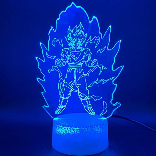 Diseño de arte único impresionante luz de noche 3D Dragon Ball Goku Super Saiyan USB acrílico luz nocturna