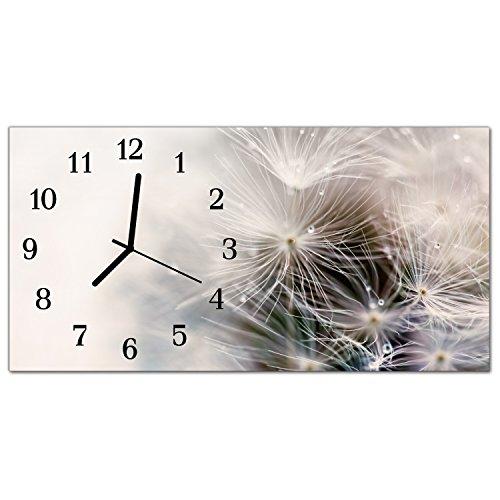 DekoGlas Glasuhr 'Muster Grau' Uhr aus Echtglas, eckig große Motiv Wanduhr 60x30 cm, lautlos für Wohnzimmer & Küche