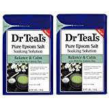 Dr Teal's Epsom Salt Matcha Green Tea Bath Soaking Solution - Balance & Calm - Pack of 2, 3 lb...