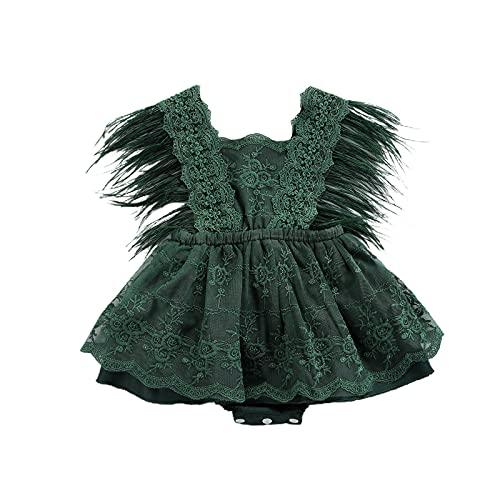 ChouZZ Mameluco de verano para recién nacidos, sin mangas, floral, con borla, vestido de tutú de una pieza