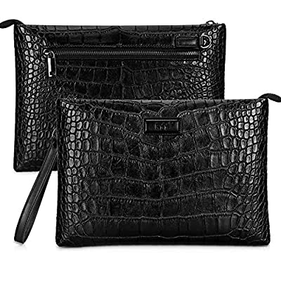 Unisex Black Clutch Bag, FYY Luxury Crocodile Pattern Clutch Wallet For Men and Women Leather Handbag Clutch Purse Wallet Clutch Wristlet with Wrist Strap