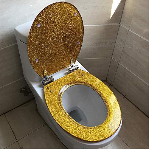 ASLW Toilettendeckel Harz O-Typ Absteigend Verdickend Uv-Typ Allgemeine Silberfarbe@Gold,Wc-Sitze