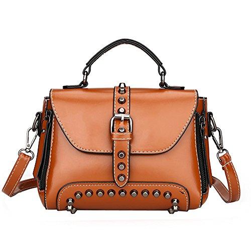 Lazzboy Bag Handtasche Retro Damen Nieten Leder Schultertaschen mit Crossbody (Braun)