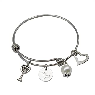 Fairytaly Expandable Zodiac Sign Bracelet 12 Constellation Stainless Steel Gift Bangle Christmas New Year Jewelry Gift for Women Girls
