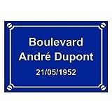 Fausse Plaque de Rue en Aluminium personnalisée à Votre nom (Bleu)