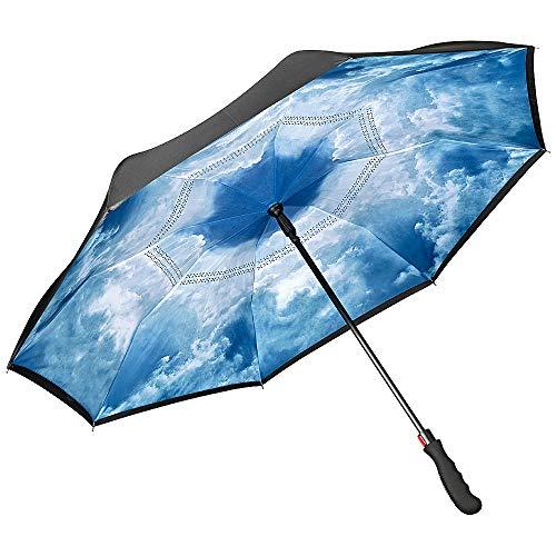 VON LILIENFELD paraplu automatisch motief dames heren autobestuurder inverted dubbellaags wolken Hamburger hemel