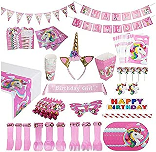 Unicorn Party Supplies Pack [15 Guests] WITH Sash and Horn Unicorn Headband for Girls Costume - 163 pcs Unicorn Party Favors, Birthday Party Decorations, Unicorn Party Bags Unicorn Plates Party Banner