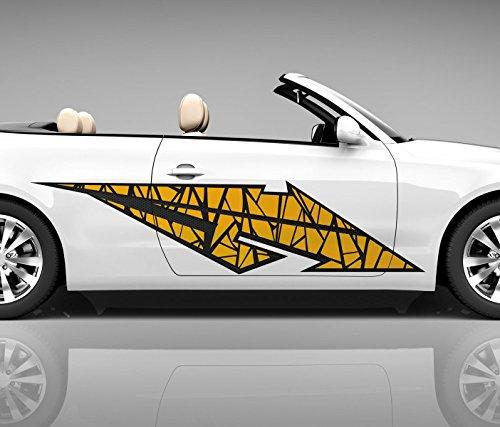 2x Seitendekor 3D Autoaufkleber Blitz gelb Digitaldruck Seite Auto Tuning bunt Aufkleber Seitenstreifen Airbrush Racing Autofolie Car Wrapping Tribal Seitentribal CW169, Größe Seiten LxB:ca. 220x50cm