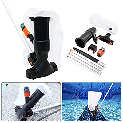 Swimming Pool Jet Vacuum Cleaner Underwater with 5 Section Pole, Portable Pool Mini Jet Vacuum Suction Head for Above Ground Pool Spas Hot Tub Ponds & Fountains - Attaches to Garden Hose