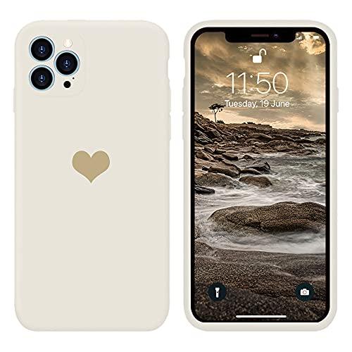 13peas Kompatibel mit iPhone 12 Pro Max Hülle 6,7\'\'(2020),Herz Motiv Liquid Silikon Gummi Ganzkörperschutz stoßfeste Case schutzschale Hüllen Tasche Handytasche Etui für Apple 12 Pro max (Weiß)