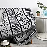 Baulanna Farmhouse Throw Blanket Boho Mexican Blanket 50X70 Throw Blanket for Couch Soft ,Cotton Woven Double-Sided Aztec Picnic Blankets Home Decorative as Sofa Bed Living Room Yoga and Camping