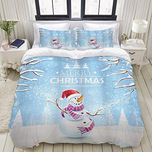 MEJAZING Duvet Cover Sheet Set,Christmas Snowman in A Snowy Winter Day with Xmas Hat Frosty Noel Kids Nursery Theme,Soft Microfiber Bedding Set-3 Piece Set,Queen