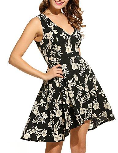 Aimado - Vestito da donna, elegante, con scollo a V Nero  L