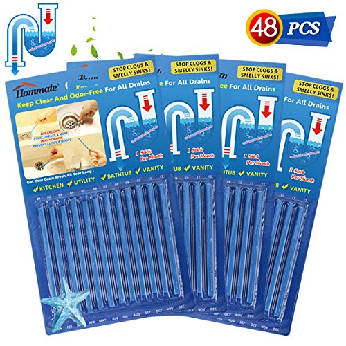 Drain Sticks Drain Stix Drain Cleaner and Deodorizer Sticks Drain Deodorizer Sticks for Clog Odor Unscented Non-Toxic for Kitchen Bathroom Sinks Pipes Septic Tank Safe As Seen On TV (48pcs, Blue)