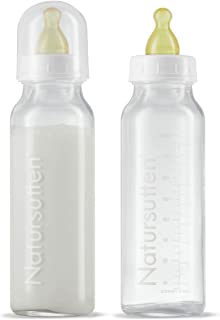 Natursutten Anti-Colic 8 oz Glass Baby Bottles with Newborn/Slow Flow Natural Rubber/Latex Nipples, 2 pack. Borosilicate glass made in France. Natural rubber made in Italy.