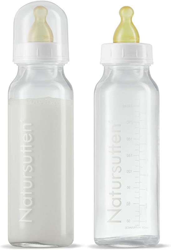 Natursutten Anti Colic 8 Oz Glass Baby Bottles With Newborn Slow Flow Natural Rubber Latex Nipples 2 Pack Borosilicate Glass Made In France Natural Rubber Made In Italy