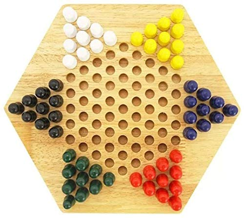 wkwk Wooden Chinese Checkers,klassisches Schachbrettspielset,für Kinder Kinder Erwachsene bis zu sechs Spieler (1 Set)