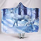 Magical Elk and Snow Queen Fantasy Fairytale Snow Forest Owl Deer Artwork Abstract Sherpa Fleece Hoodie Cape Kids