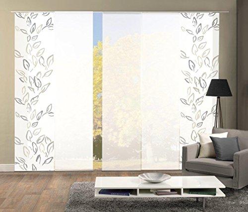 Home Fashion Set-Angebot Flächenvorhang Fronde | wahlweise 3er-, 4er- oder 5er-Set bestehend aus Motiv- und Uni-Flächenvorhängen | Höhe 245 cm, Farbe: Stein, Anzahl: (5)