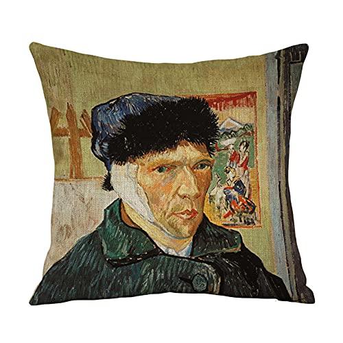 YINGZG Fundas de Cojín para Sofá Decorativos 55x55cm 22x22 Inch Van Gogh Algodón Lino Cuadradas Funda de Almohada Cubierta para Cojines Sofá Sala de Estar Dormitorio Throw Pillow Case Z1644