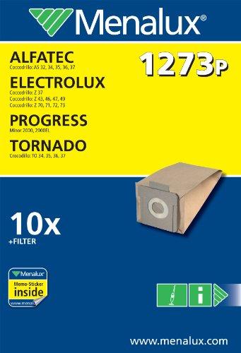Menalux 1273P 10 Sacs Aspirateur Compatible pour Tornado / Electrolux + 1 Filtre Moteur + 1 Micro Filtre