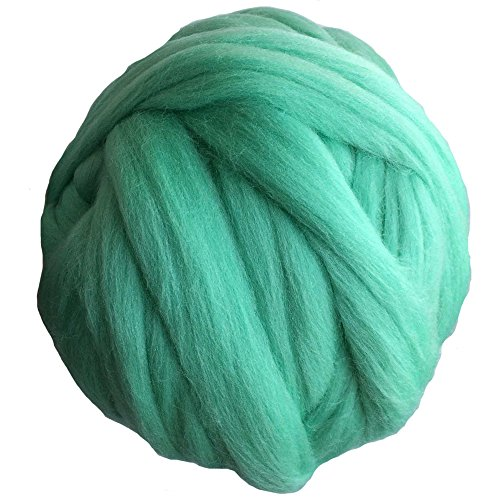 Merino Wool Chunky Yarn Giant Thick Bulky Roving Spinning for Arm Knitting Blanket, 6cm thick, 55 yards, 2.2Lb (Crystal Green)