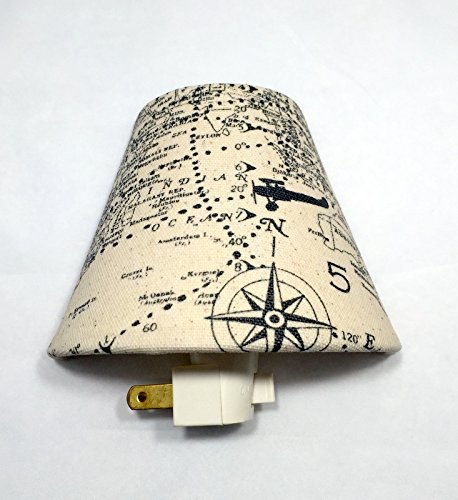 Maps and Airplanes Plug In Night Light/Nursery Decor/Baby Shower Gift/Home Decor/Kid's Room/Compass/Vintage/Lighting/Hallway Light/Planes