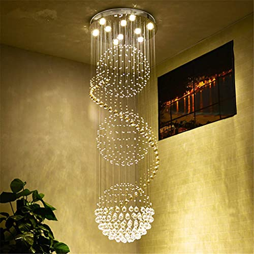 Lámparas de araña Moderna Lámpara Colgante, Luz Cristalina De La Lámpara LED Moderna Espectacular Esfera Espiral Gota De Lluvia K9 del Accesorio del Techo De La Sala De Estar del Hotel,D1
