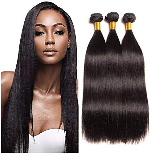 NEWFB Lot de 3 mèches, extensions de cheveux, 100 % cheveux humains brésiliens vierges non traités, lisses, couleur noire naturelle, 300 g, 30,5/35,5/40,6 cm