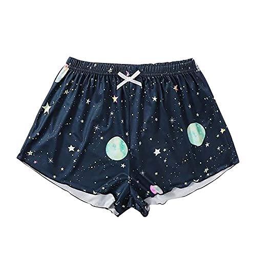 YANFANG Pantalones Cortos Ajustados causales, de la Nueva Aptitud de Las Mujeres Imprimieron el Desgaste de los Deportes de la Yoga de la Cintura Alta,Navy,M