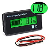 FIXITOK Battery Meter Battery Capacity Voltage Monitor, DC 12/24/36/48/60/72/84V Battery Capacity Voltage Gauge Indicator for Lithium Battery for Golf Cart Boat Car RV Motorcycle (Green)
