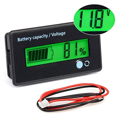FIXITOK Batteriekapazität Voltmeter Batterie Kapazität Anzeige DC 12/24/36/48/60/72/84V Batterieanzeige Voltmeter Monitor Batteriekapazität für Lithium Batterie mit Blauer Hintergrundbeleuchtung