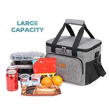 Lifewit 15L (24 Canette) Sac Isotherme Lunch Bag, Sac-Glacière Cooler Bag Sac de Repas pour Déjeuner/Travail/Ecole/Plage/Pique-Nique (Gris)