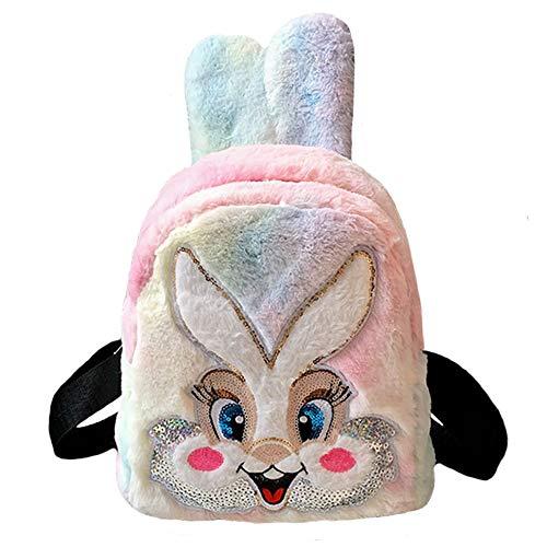 Dodheah Mochila para Niña Mochila Bebe Guarderia Animales Mochilas Pequeñas Niña Suave Mochila de Felpa para Bebe Conejo Multicolor