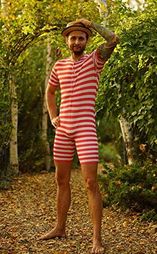 Men's Vintage Retro Swimsuit, Vintage Swimsuit Men, Victorian Bathing Suit, Retro Swimwear, Bathing Beauty in Red Stripes