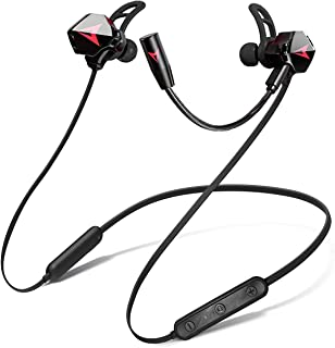 KAMYSEN Bluetooth 5.0 elegantes Audifonos inalámbricos,Auriculares Gaming Sport InEar,con micrófono Dual Desmontable,Auriculares deportivos estéreo impermeables con gancho en la oreja con micrófono,para Juegos móviles,correr, escuchar música, hablar por teléfono, ver videos